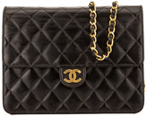 Chanel Black Quilted Lambskin Leather Chain Clutch