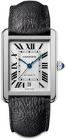 Cartier Tank Solo Extra-Large Stainless Steel & Black Leather-Strap Watch