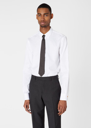 Paul Smith Men's Slim-Fit White Cotton Shirt With 'Artist Stripe' Cuffs
