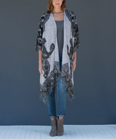 Paparazzi Gray Floral Fringe Wool-Blend Cardigan