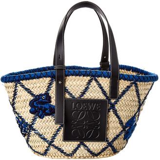Loewe Basket Animals Raffia & Leather Tote