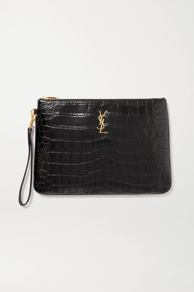 Saint Laurent Monogramme Croc-effect Leather Pouch - Black