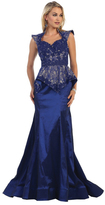 May Queen - Queen Anne Neckline with Peplum Trumpet Lace Dress RQ7351