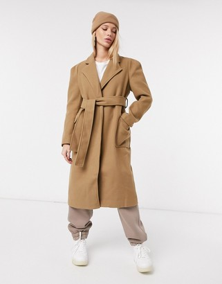 Fashion Union relaxed fit wrap coat with belt