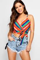 boohoo Petite Maisie Stripe Printed Woven Knot Front Top