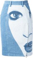 Jeremy Scott face print denim skirt