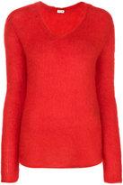 Saint Laurent loose stitch v-neck jumper - women - Nylon/Mohair/Wool - S