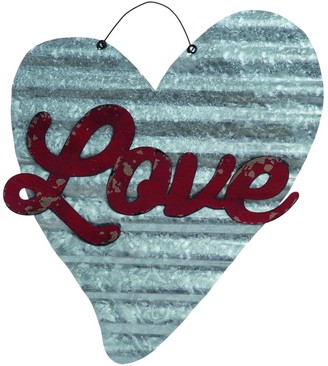 Transpac Metal Silver Valentines Day Corrugated LOVE Heart Wall Art