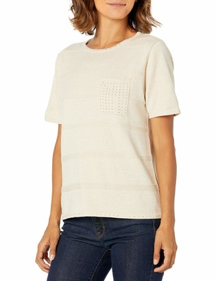 Alfred Dunner womens01560Patch Pocket S/S Sweater with Bling Pullover Sweater - Beige - S (Petite)