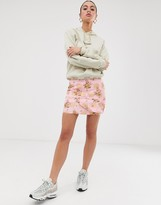 Nesavaali jacquard pineapple & floral print mini skirt