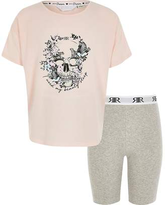 River Island Girls pink skull printed pyjamas
