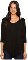 Michael Stars Jersey Lycra 3/4 Sleeve Slit Shoulder V-Neck Top Women's Clothing