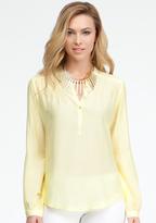 Bebe Pintuck Pullover Silk Blouse