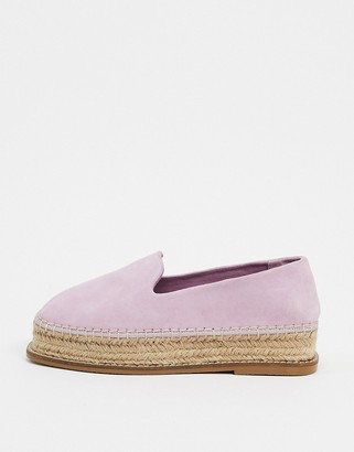 ASOS DESIGN Jasper suede flatform espadrilles in lilac