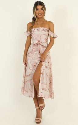Showpo Lovers Off Shoulder Midi Dress in nude print - 6 (XS) Going Out