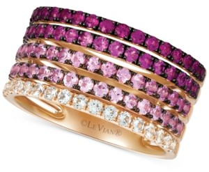 LeVian Le Vian Strawberry Layer Cake Multi-Gemstone Stack Look Statement Ring (1-3/4 ct. t.w.) in 14k Rose Gold