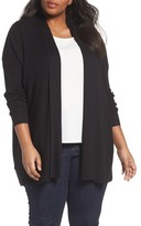 Sejour Plus Size Women's Relaxed Ribbed Cardigan