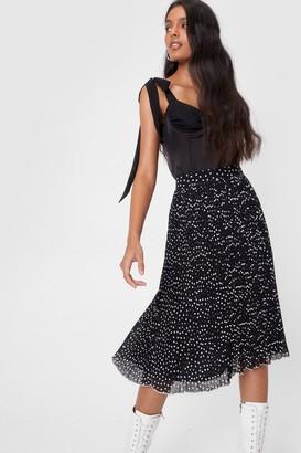 Nasty Gal Womens Chiffon High Waisted Pleated Spotty Midi Skirt - Black - 4