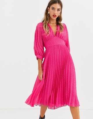 Asos Design DESIGN pleated batwing midi dress in chevron dobby-Pink