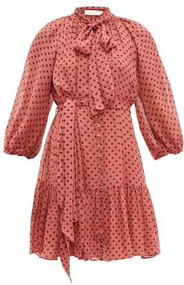 Zimmermann Espionage Polka-dot Chiffon Mini Dress - Womens - Pink Print