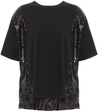Clu Sequined Mesh And Cotton-jersey T-shirt