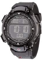 Sector Men's Digital Watch with LCD Dial Digital Display and Black PU Strap R3251172125