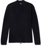 Giorgio Armani Herringbone Virgin Wool-blend Zip-up Sweater - Navy