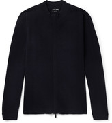 Giorgio Armani Herringbone Virgin Wool-Blend Zip-Up Sweater