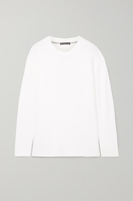 James Perse Oversized Jersey-trimmed Cashmere Sweater - White
