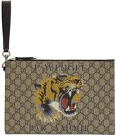 Gucci Beige GG Supreme LAveugle Par Amour Tiger Pouch
