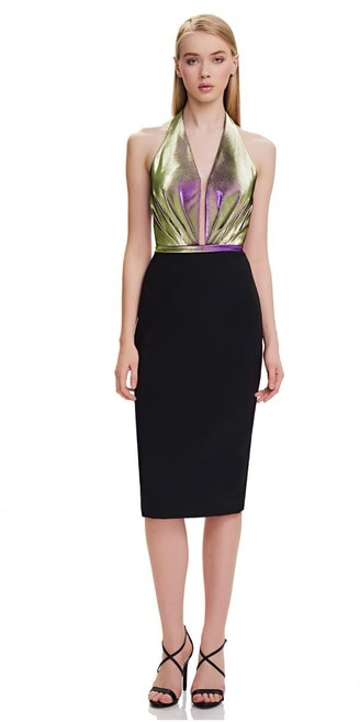 Theia Sleeveless Plunging Neck Cocktail Dress