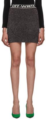 Off-White Off White Silver and Black Sparkling Miniskirt