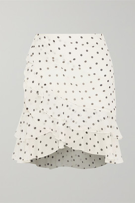 Balmain Ruffled Polka-dot Silk-georgette Mini Skirt - White
