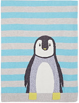 The Bonnie Mob Intarsia-Knit Penguin Cotton-Cashmere Blanket-BLUE