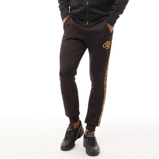 Crosshatch Mens Gold Bloom Tricot Gold Tape Joggers Black