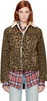 R 13 Brown Leopard Sky Trucker Jacket