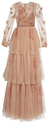 RED Valentino Floral Applique Tulle Gown