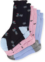 Neiman Marcus Three-Pair Multi-Printed Ruffle Socks, Navy/Light Blue