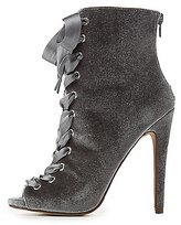 Charlotte Russe Velvet Lace-Up Ankle Booties