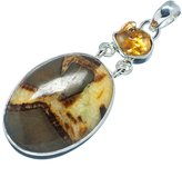 "Ana Silver Co. Ana Silver Co Large Septarian Nodule, Citrine 925 Sterling Silver Pendant 2 1/8"" PD589793"