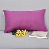 "Natus Weaver Decorative Rectangular Linen Euro Pillow Cover Cushion Case for Floor, 12 ""x 20 "", Eggplant"