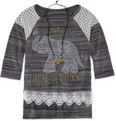 Knitworks Knit Works 3/4-Sleeve Screen-Printed Top with Necklace - Girls 7-16