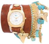 La Mer Goldtone Charm Simulated Turquoise and Glass Bead Chain Tobacco Brown Leather Wrap Watch