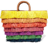 Kayu Pinata Leather-trimmed Fringed Straw Tote - Yellow