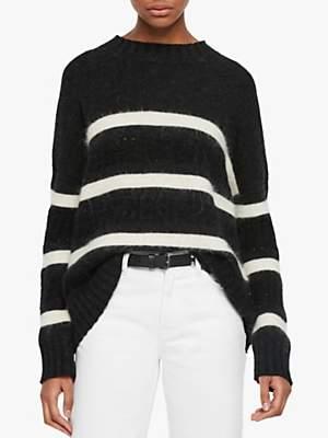 AllSaints Siddons Stripe Jumper, Black/Cinder/Ecru