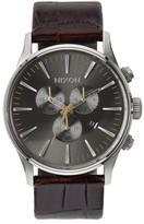 Nixon 'Sentry Chrono' Embossed Leather Strap Watch, 42Mm