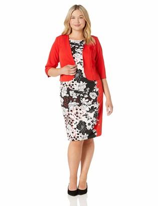 Maya Brooke Women's Plus Size Abstract Floral Jacket Dress red/Black 20W