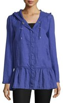 Moschino Long-Sleeve Snap-Front Coat, Purple