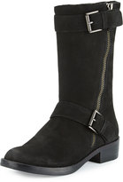 Eileen Fisher Log Suede Mid-Calf Bootie, Black