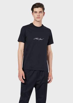 Emporio Armani T-Shirt In Mercerised Cotton Jersey With Printed Logo